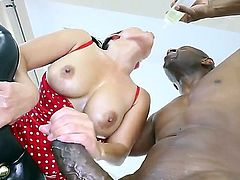 Attractive asian milf Jessica Bangkok with big tits and soft milky skin in red lingerie gets her shaved demolished by black bull Prince Yahshua and takes on his monster cock.
