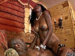 That fat ass of hers drives me insane! Bootylicious ebony whore Nyomi Banxxx rides her lover hard, showing him who's the boss. After a while she bends over for doggy pose.
