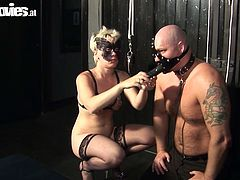 One guy with strapon device on his head fucks two whore wives. He whips them and fucks them hard. Go for the hot Fun sex movie for free.