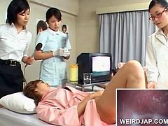 Japanese patient gets hairy snatch checked at the doctors