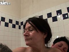 Hot tempered old bitches with saggy tits and hairy pussies go wild in the pool. They fingerfucks theirs cunts and suck each others nipples.