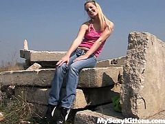 Filthy blond girl lies on a huge stone in the open air sunbathing. She enjoys the fresh air and warm sun under the open sky. She slides her hands down tracing her body all over until she reaches the wet spot. The girl fondles her pussy as she gets hot and horny. Luckily for her, Chanel always carries on a sex toy along with her. So she takes the tool inserting it in the slit. She pokes her twat intensively.