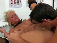 Turned on tall stud Manuel Ferrara with long meaty shaft fucks hard tempting blonde bitch Phoenix Marie with big fake tits and round bouncing ass all over doctors office.