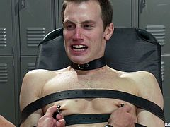 Check this gay bondage scene out as this guy sucks his master's big fat cock before getting nailed up the ass.