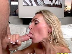 Lustful blonde gives sloppy blowjob and gets her pussy licked. After that she spreads her legs and gets fucked hard. She also gets her mouth filled with cum.