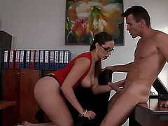 Paige Turnah is a hot secretary who wants to make her boss happy in this video