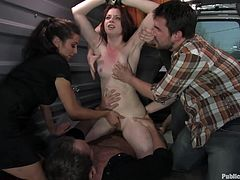 A submissive bitch is made to suck cock and get fucked in a public library then the dude sends his cock in her tight asshole, check it out!