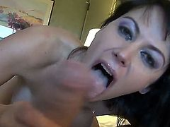 One of a kind brunette bombshell Eva Karera with big round hooters and pierced belly button gives on turned on Manuel Ferrara and gives him titjob in arousing sixty nine.