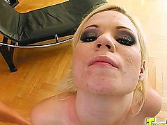 Yasmine is sporting a perfect peach pussy and a tongue stud. She sucks those cocks hard. Afer a good pounding she swallows two loads of cum. Good girl!