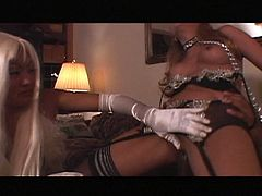 See two blonde Asian sluts taking turns sucking a huge black cock before riding it deep and hard into kingdom come.