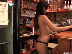 Monika is sexiest bar tender I have seen so far. She goes naughty while there is no visitors in the bar. She strips totally showing her wet pussy close-up. Then she inserts long sex toy in her slit poking actively. Enjoy watching this passionate solo masturbation scene presented by My Sexy Kittens studio.