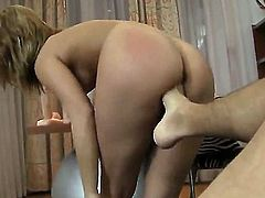 Young slender brunette Linda E with natural boobies and sweet ass gets on knees and gives head to turned on Rocco Siffredy with long fat cock in point of view.