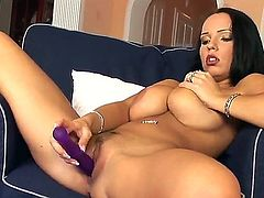 The mission to stay disappointed after seeing what Laura Lion does is impossible! Girlie with massive breasts stays naked and then starts playing with her sex toy.