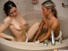 These chicks know how to make bath time a fun time for all, without a doubt. Charming babe shoves a silver dildo deep inside her girlfriend's snatch and starts pumping it in and out. Finally it's her girlfriend's time to fuck her tight twat.