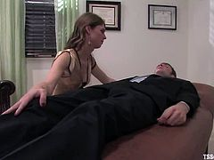 She uses her new method of making her clients relax. THis is a very perverted method, but Johny Rocket is loving to relax with a shemale cock in his asshole.