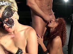 Well, this Fun Movies sex clip is surely worth checking out. Kinky blondie and redhead with curly hair are in masks and naked. Bitches come to the handcuffed dudes and give solid blowjobs to their stiff dicks. Voracious pale whores with nice butts desire also to gain delight by being fucked missionary and order strictly right away.