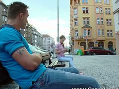 He spotted this cute teenie sitting on the bench and seduced her. She took him to her place and enjoyed some hardcore pounding from big cock!