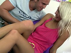 Shy sweety Sabrina gets her wet knickers rubbed by horny dude