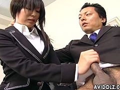 Here we have some really hot action for you with this sexy secretary babe Satomi Maeno. Man this chick is fine, she is one of the sexiest looking chicks out there and she is looking so damn fine here in her secretary clothes. You will be seeing this babe getting a raise after she pulls her bosses cock out and gives him the best head that you could imagine!
