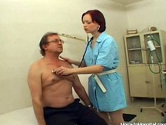 This hot redhead doctor is a very provocative seductress and she feasts on her patient's hard dick in this hot-ass clip!