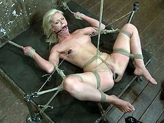 Blonde bombshell Tara Lynn Foxx is having fun in a basement. She gets bound and hang up and enjoys being tormented.