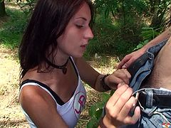 Young Busty studio presented palatable 19 years old busty model Roxy. Sitting down on her knees she reveals hard flesh out of dude's jeans craving for juice in her mouth.