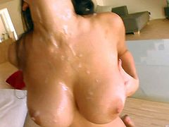 Black haired Lola with arousing make up and smoking hot body fucks with two studs all over the living room until they cum on her gigantic jaw dropping tits