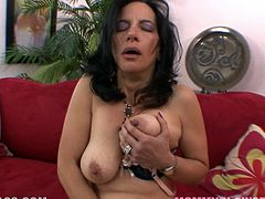 Pres play on this POV scene where a horny brunette mom shows off her sexy body and gives one hell of a blowjob.
