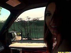 She is naughty brunette bitch who is a big fan of blowjob. Craving for taste of cum she goes down right in a car. She takes meaty stick deep in her throat sucking until gagging.