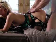 Blonde beauty loves having her pussy nailed from behind in stunning hardcore action