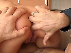 Hot brunette gets a nice pussy licking from his boyfriend and is later fucked hard in her cunt