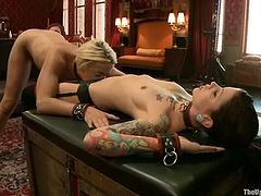 Skinny blonde Dylan Ryan is playing dirty games with Iona Grace and some other people indoors. Dylan gets humiliated and tortured and licks girls' tits.