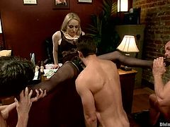 Aiden Starr and her colleague are going to have fun dominating three guys, making them go bisexual in the office. It's crazy femdom at its best.