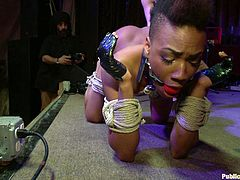 A sexy ebony babe with a mohawk gets tied up and gagged and totally fucked by a crown in this intense bondage scene right here!