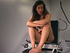 Meriesa spreads her legs wide and lets some chick attach wires to her vag and stuff her pink cave with a vaginal speculum.