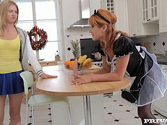 Two salacious maids Lucy Bell and Marketa are having fun with some guy in the kitchen. They suck and rub his schlong crazily and then welcome it in their hot cunts.