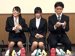 Two naughty and horny Japanese secretaries are being punished by their boss. He makes them take their undies off and spread their legs wide for some pussy plays!