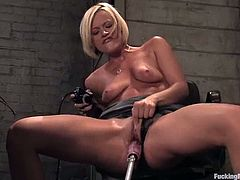 Sexy busty blonde Jasmine Jolie is playing with her new fucking machines in a secret place. She fondles herself ardently and then gets her snatch pounded hard by the devices.