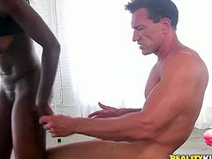 Luscious black skank with ample booty tops the rod jumping on it fast in reverse cowgirl position. She is incredibly good in the action showing high class sex scene. Check this out on anysex for free.