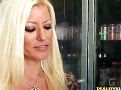 Blonde is never enough and takes guys erect boner in her mouth over and over again