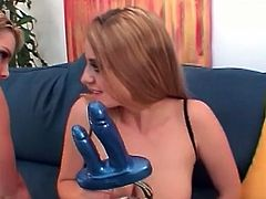 Two gorgeous, big tits blondes dressed in crotchless, body stockings put on an awesome lesbian show filled with tons of jerk-off worthy, butt licking and dong penetration.