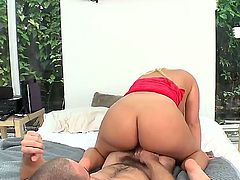 Naughty huge assed and giant boobed blonde chick is passionately sucking boyfriends dick to erect it and get cussed out by it.