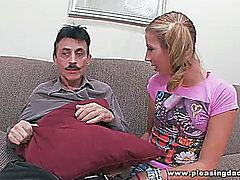 Sexy young blond Chastity Lynn gets fuck by veteran pornstar Dirty Harry after catching him jerk off his fat mature cock.