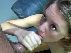 Get a load of this hot video where a horny blonde sucks on a big fat cock before masturbating with a vibrator rubbing her pink clit.