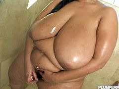 Huge Latina Sofia Rose showed off her big jugs and huge ass in the bathroom. Two big dicked dudes were ready to destroy her pussy and mouth!