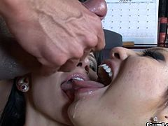 Hot asian slut loves sharing huge dick along her friend in naughty threesome porn
