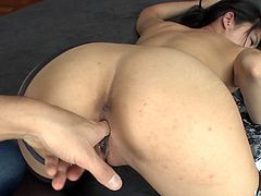 Luscious Japanese cutie in lacy black and white lingerie and stockings makes out with two aroused dudes. They pokes her bearded vagina with fingers in sultry MMF sex video by Jav HD.