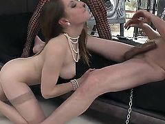 Two horney sexy brunette are pussylicked before they get fucked hard in a threesome