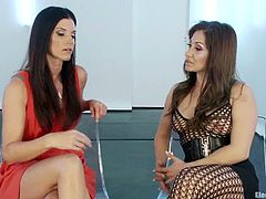 Gorgeous brunette India Summer moves her legs wide apart and lets Lea Lexis fist her sweet pussy before Lea fucks it hard with a dildo.