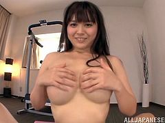 This smoking hot and slender babe Anna Natsuki is so fucking hot! She gets on the running track and then gets on that dick to shape her tits up!